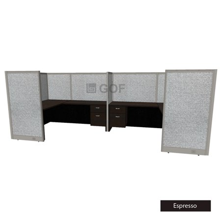 GOF 2 Person Workstation Cubicle (5.5'D x 12'W x 5'H-W) / Office Partition, Room Divider (60