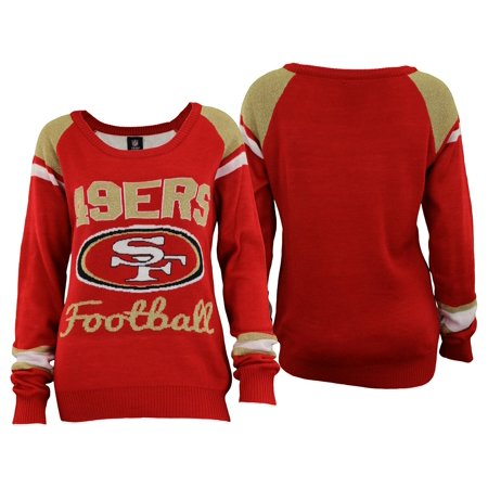 d35e8a86 Forever Collectibles NFL Women's San Francisco 49ers Glitter Scoop Neck  Sweater