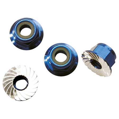 (Traxxas 1747R Blue-Anodized Aluminum 4mm Flanged, Serrated Lock Nuts (set of 4))