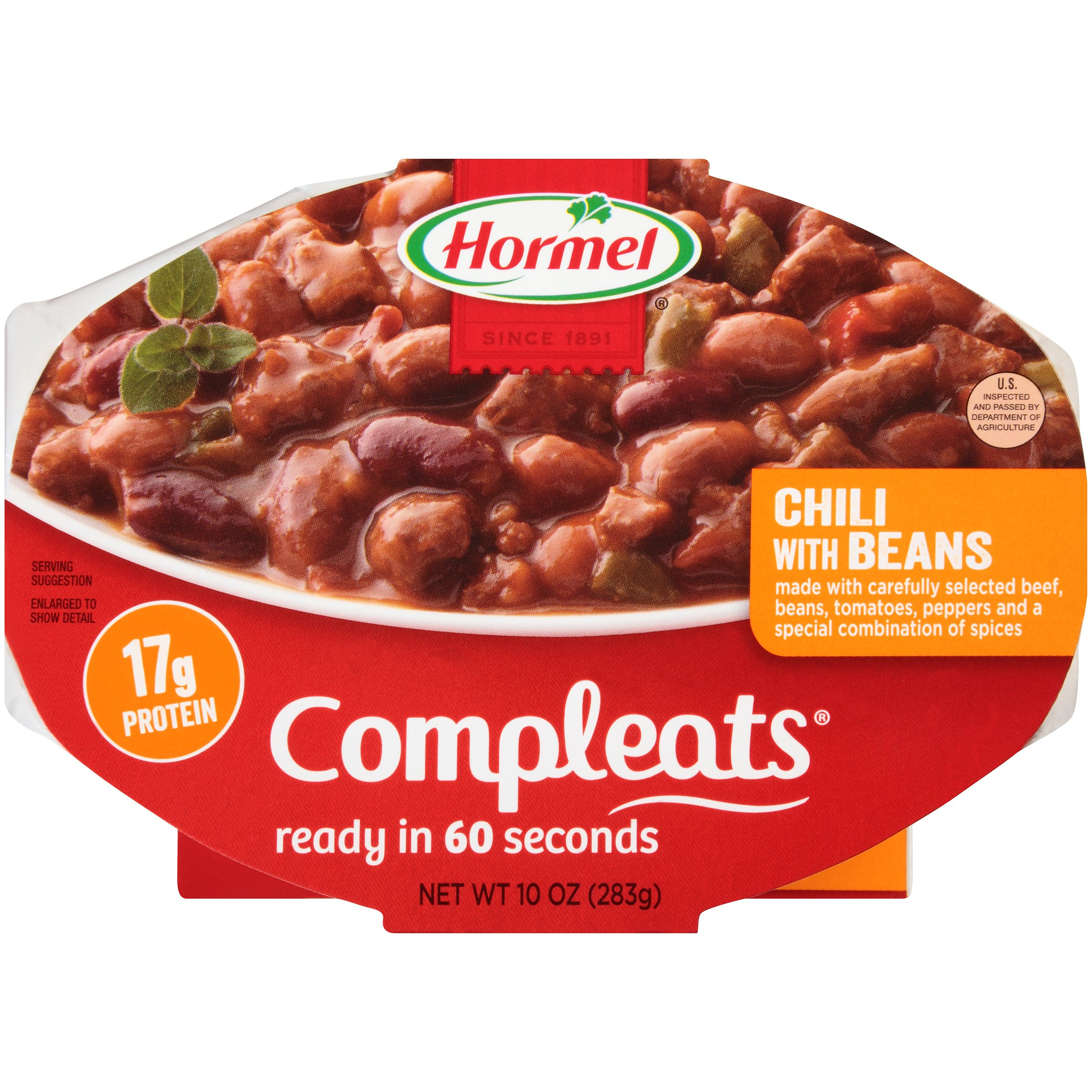 Hormel Compleats Chili with Beans 10 oz Sleeve