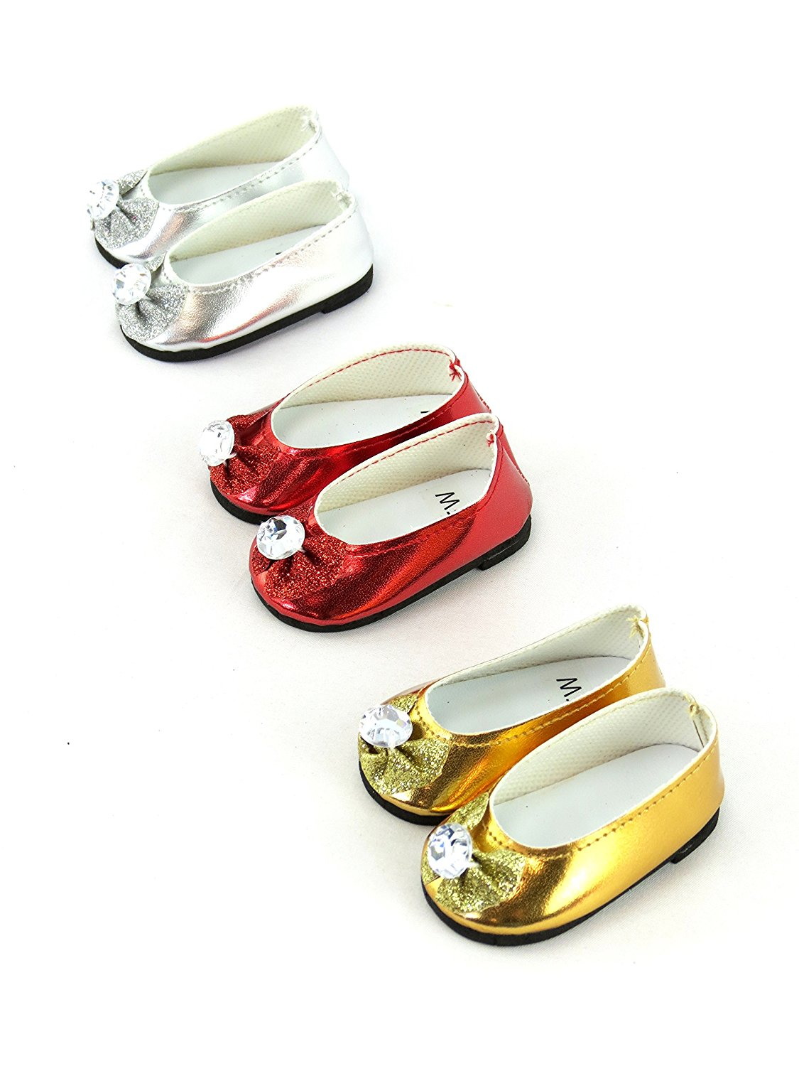 """Metallic Sandals Flats Shoes fits 18/"""" American Girl Dolls SIlver or Gold"""