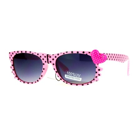 SA106 Whisker Heart Rhinestone Girls Horn Rim Sunglasses Pink ()