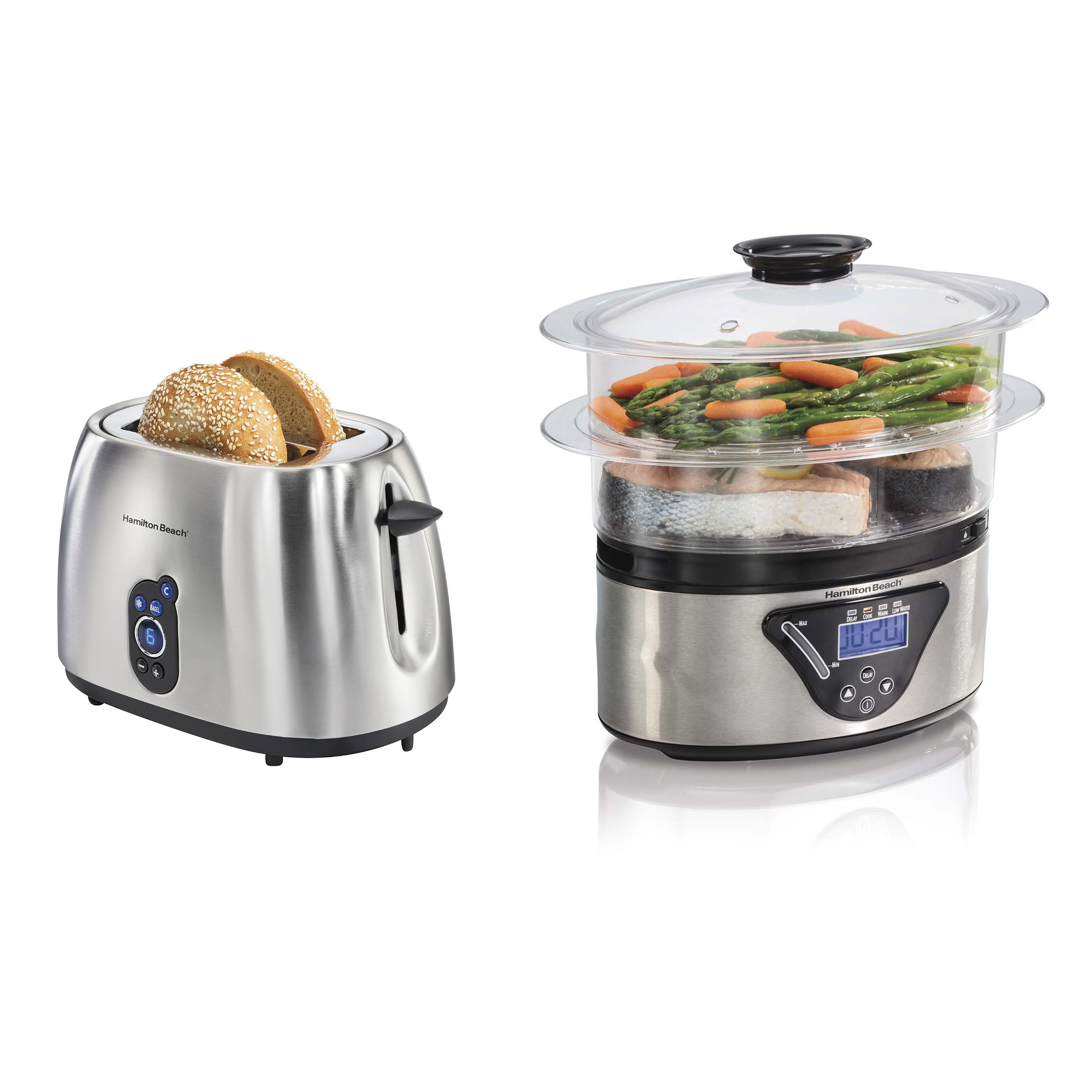 Hamilton Beach 2-Slice Digital Toaster + Hamilton Beach 5.5 Quart 2 Tier Steamer