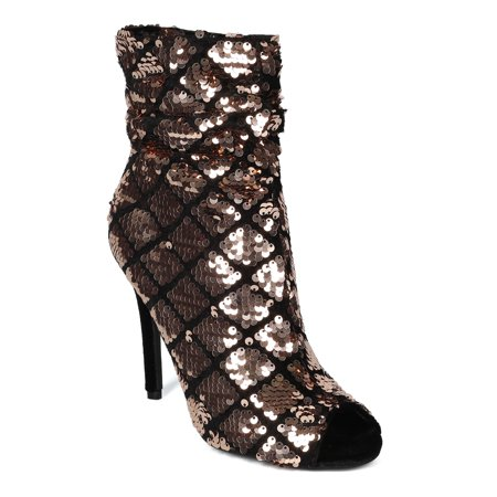 Women Sequin Faux Velvet Open Toe Ruched Stiletto Heel Boot - 18143