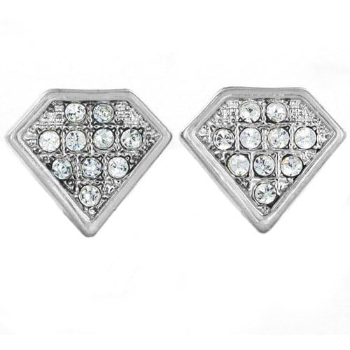 Silver-Tone Micro-Pave Crystal Diamond-Shaped Stud Post Earrings
