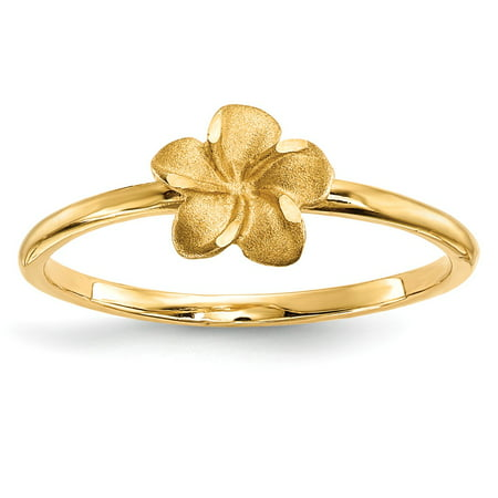- Solid 14k Yellow Gold Satin & Diamond-Cut Plumeria Ring (1.5mm) - Size 4