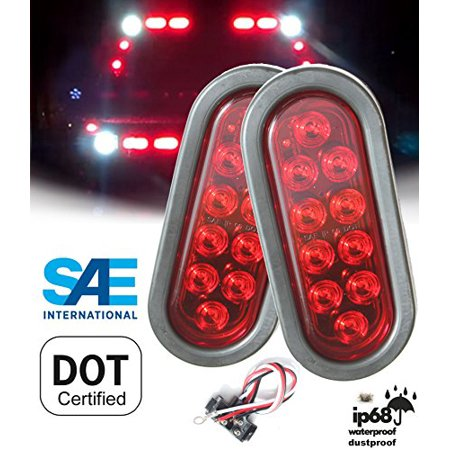 Pair 2 Pieces Solid Led 6 Oval Red Brake Stop Turn Tail Marker Signal Light For Truck Trailer Tractor Jeep W Grommet Pigtail Kit Dot Sae Roved