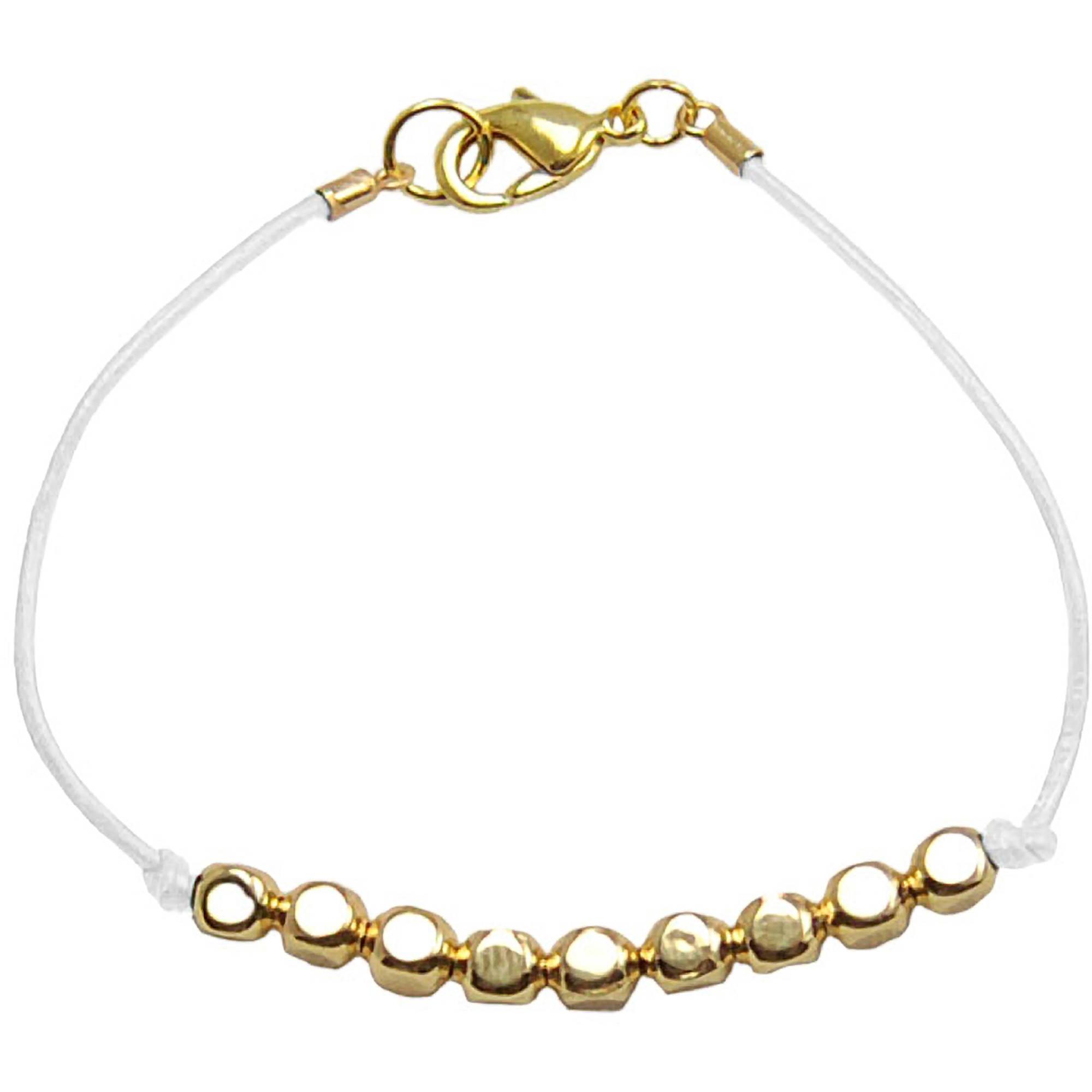 Miss Zoe by Calinana Dot Leather Bracelet, White/Gold