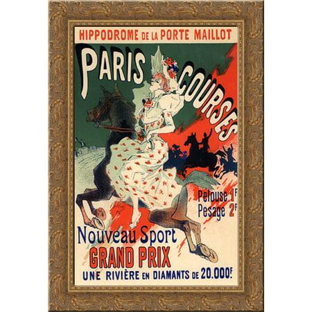 Hippodrome de la Porte Maillot, Paris Courses 24x18 Gold Ornate Wood Framed Canvas Art by Jules (Paris Porte De Versailles)