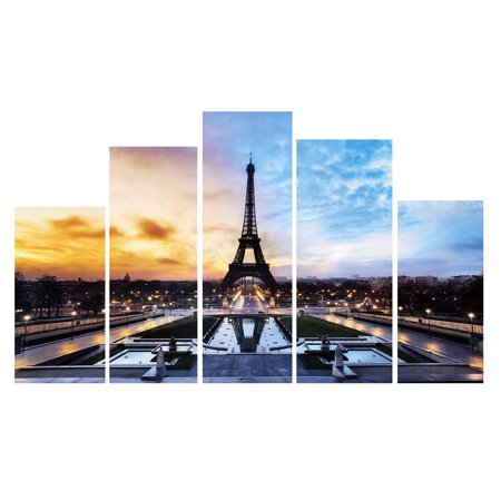 On Clearance 5 in 1 Modern Art Oil Paintings Eiffel Tower Canvas Print Unframed Pictures Home Wall Art Sticker Decor (without fraame)