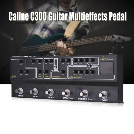 Caline C300 Guitar Pedal All in One Multi Effects Pedal Reverb Analog Delay Chorus Distortion Overdrive Boost Tuner Amp for (Best Overdrive Pedal For Rock)