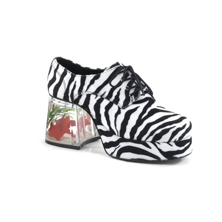 Mens Platform Fish Filled 3 1/2 Inch Heel Retro Disco Lace Up Zebra Print Shoes