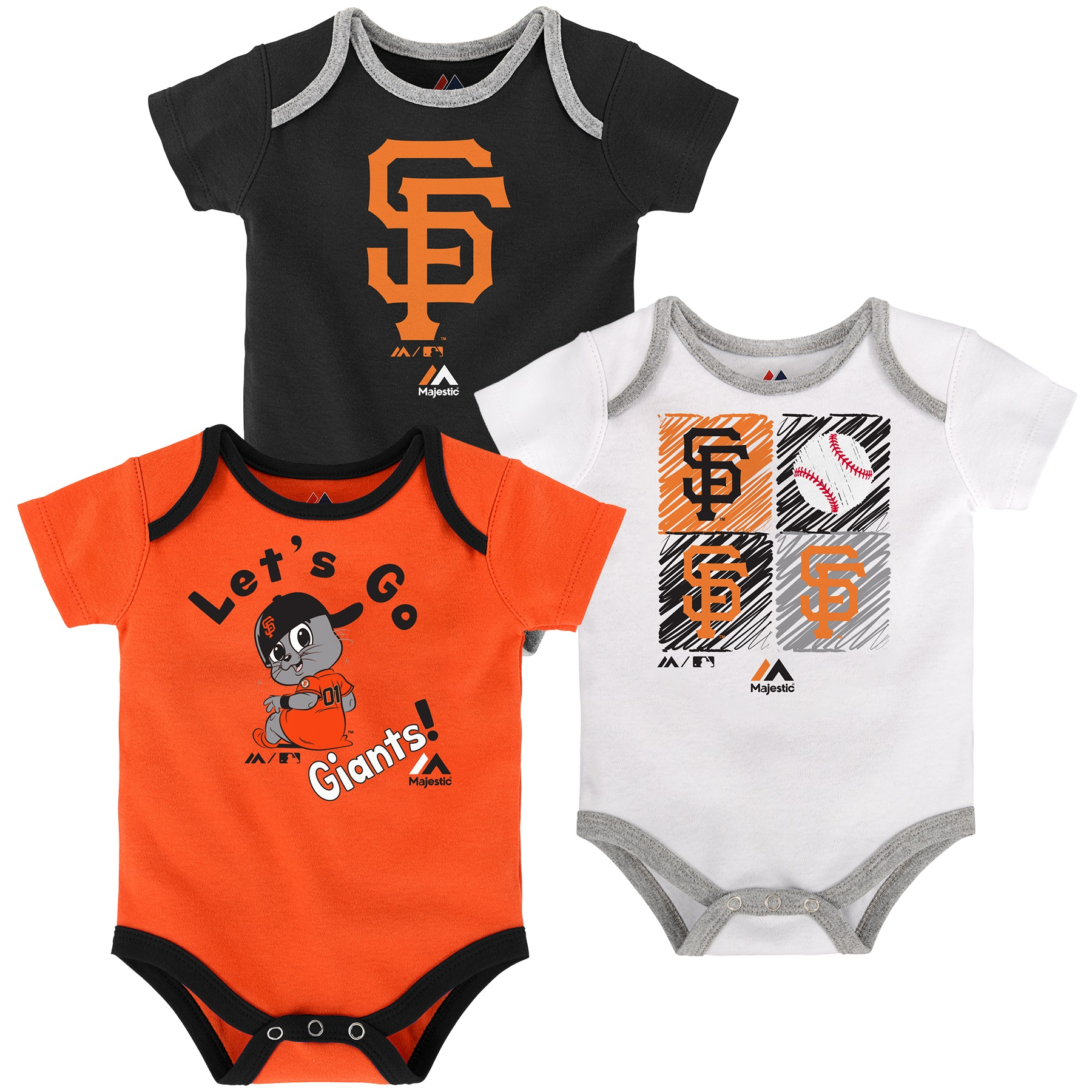 San Francisco Giants Majestic Newborn & Infant Go Team 3-Pack Bodysuit Set - Black/Orange/White