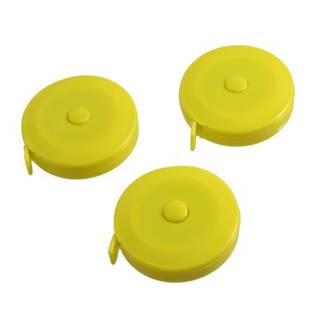 "3 Pcs Yellow Round Case Automatic Retractable Sewing Tape Measure 150cm 60"" - image 1 of 1"