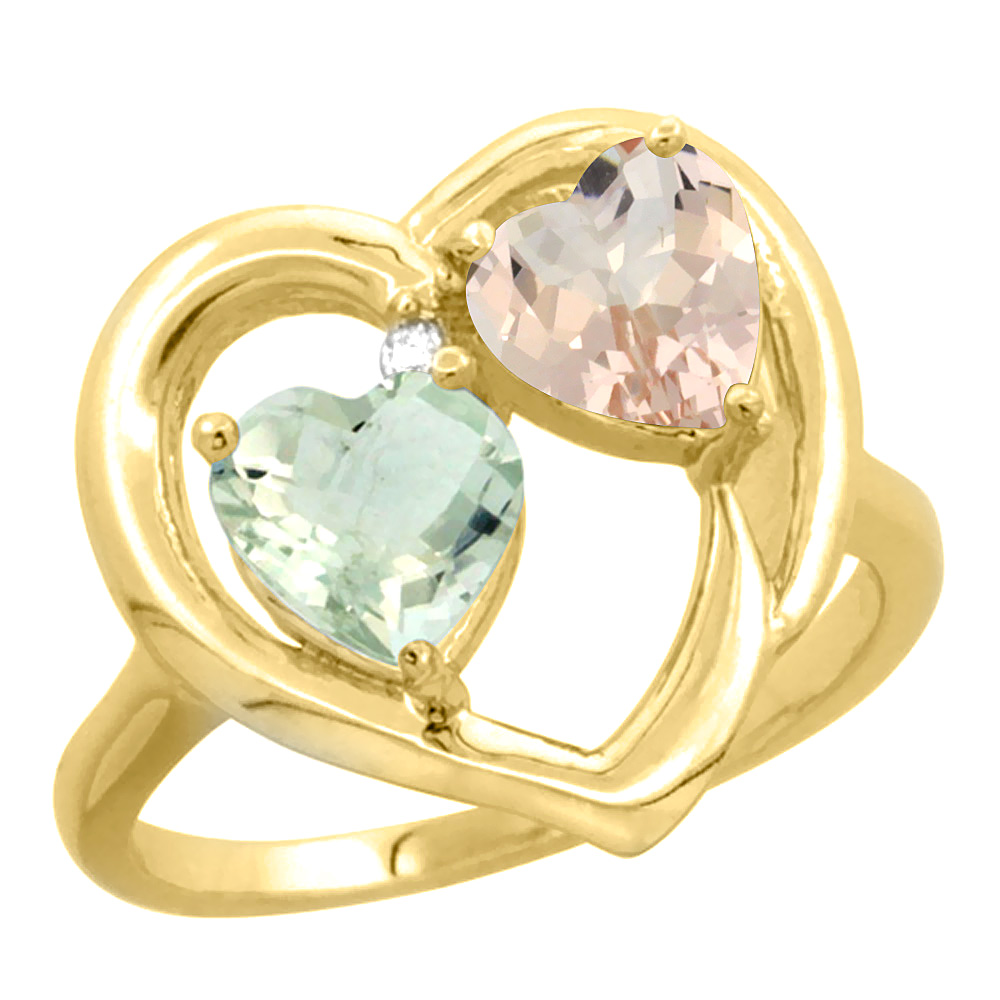 10K Yellow Gold Diamond Two-stone Heart Ring 6mm Natural Green Amethyst & Morganite, sizes 5-10 by WorldJewels