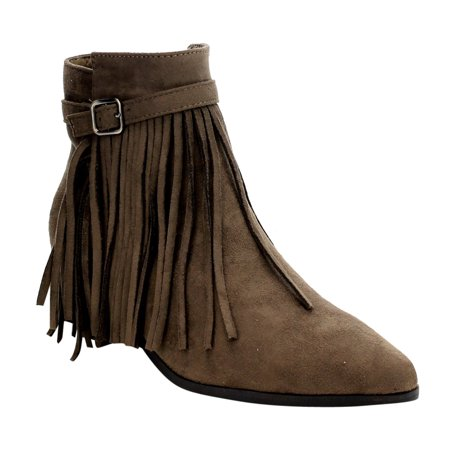 AE32 Women's Fringe Zipper Buckled Low Block Heel Dress Ankle Booties