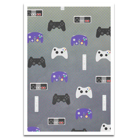 - Visionary Prints 'Game Console Pattern' | Gamer Wall Art - Purple, Black, and White Game Consoles Pattern | Modern Contemporary Poster Print, 13x19 inch