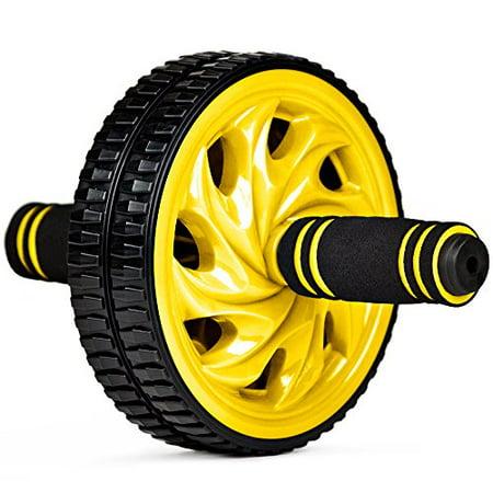 Crown Sporting Goods Ab Wheel with Foam Comfort Grip, Sculpt Amazing Abs, Yellow (Gruselgeschichten Halloween Ab 12)