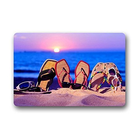 WinHome Sunrise Summer Beach White Sand Funny Cute Slipper Glasses Close Up Doormat Floor Mats Rugs Outdoors/Indoor Doormat Size 30x18 - Sunrise Funny