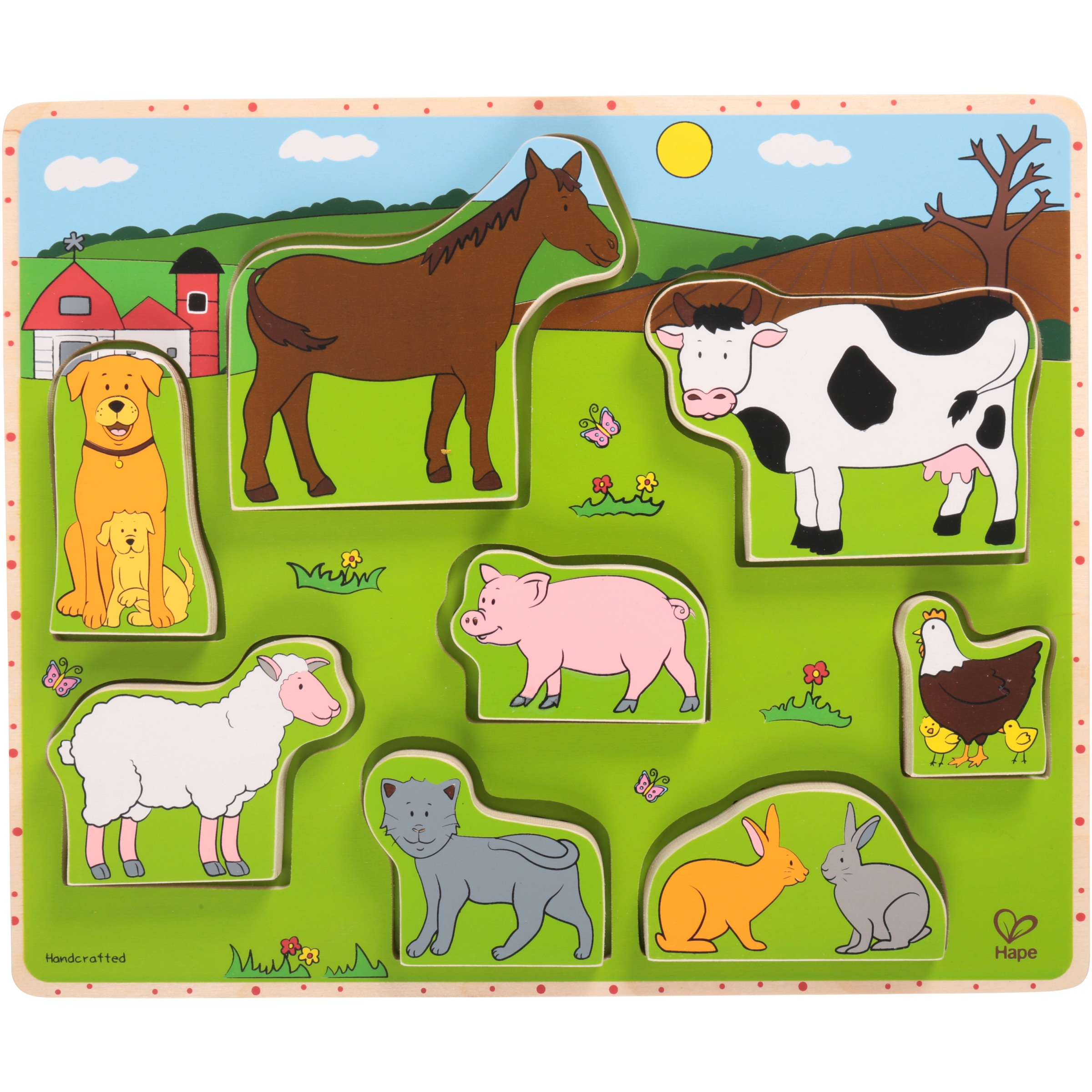 Hape Farm Animals Stand Up Puzzle 9 pc Box by HaPe