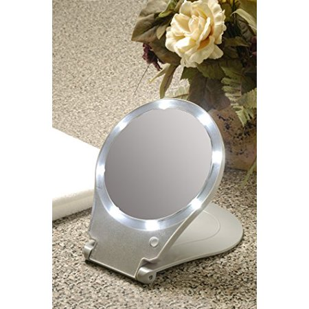 8 Led Bulbs Illuminate Your Face To, Floxite 10x Lighted Travel And Home Mirror