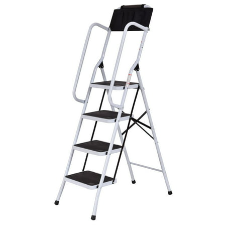 - Costway 2 In 1 Non-slip 4 Step Ladder Folding Stool w/ Handrails and Tool Pouch Caddy