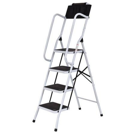 Costway 2 In 1 Non Slip 4 Step Ladder Folding Stool W
