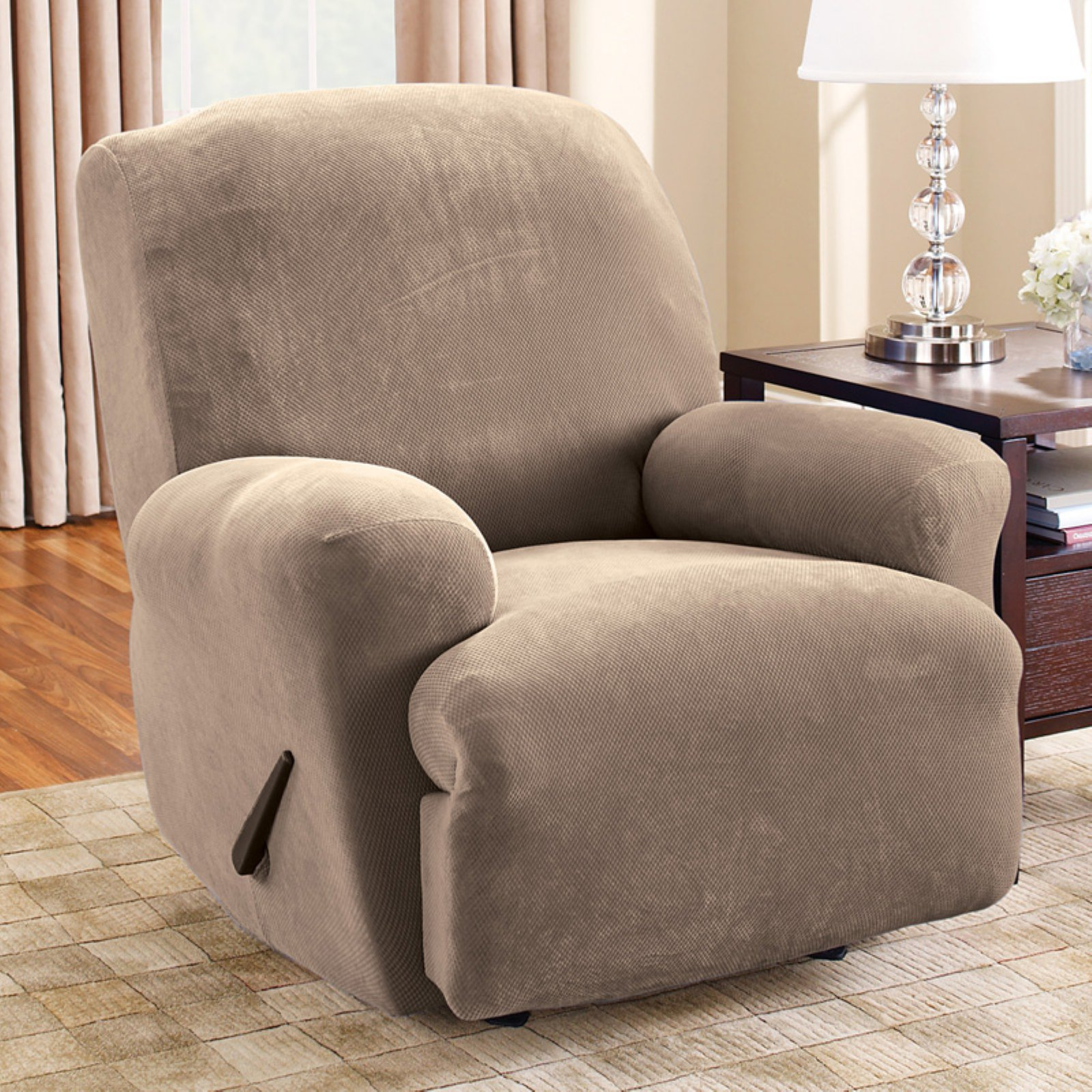 recliner pin corduroy slipcover taupe slipcovers pixel recliners sure stretch fit for