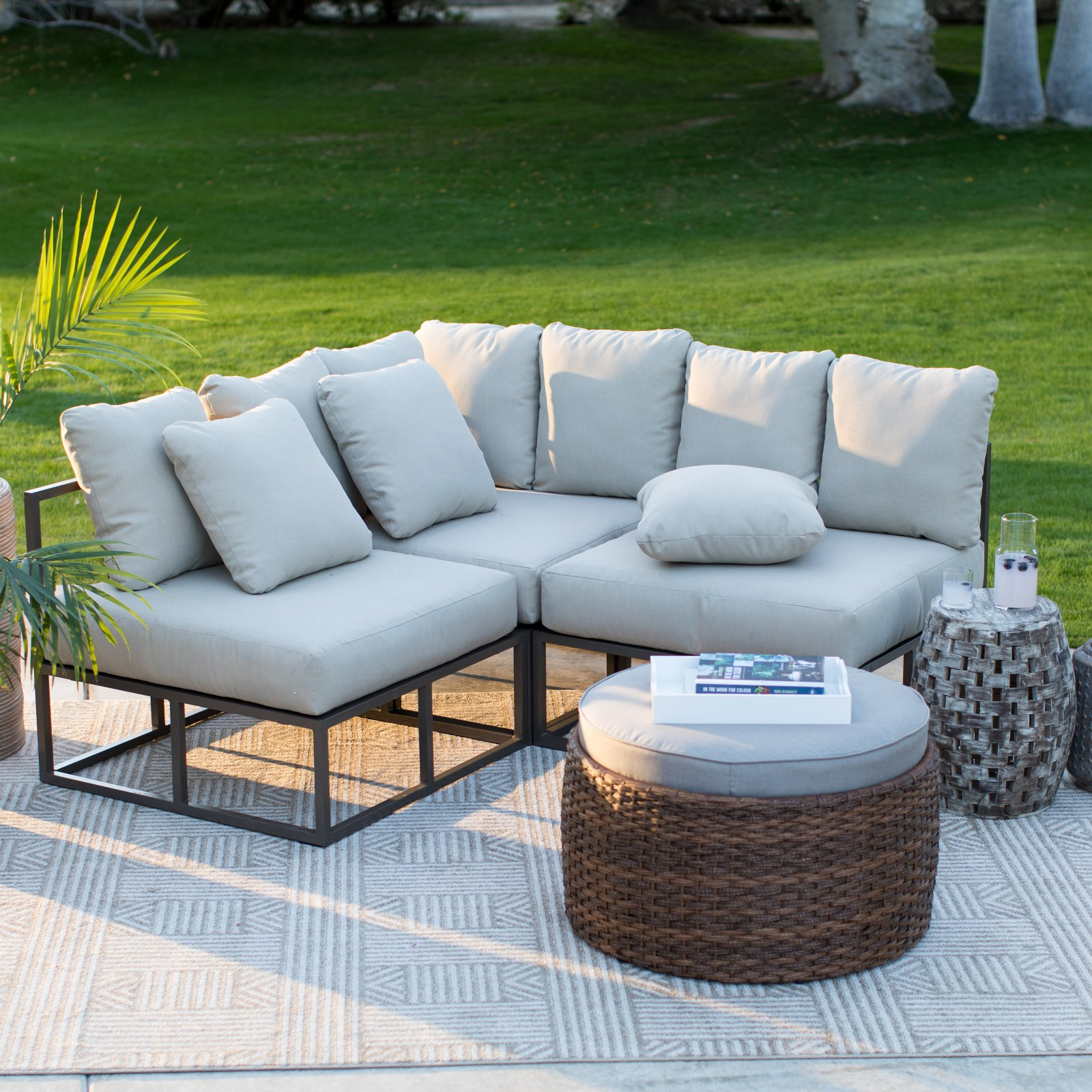 Belham Living Bonaire Aluminum 3 Piece Outdoor Sectional Sofa Set