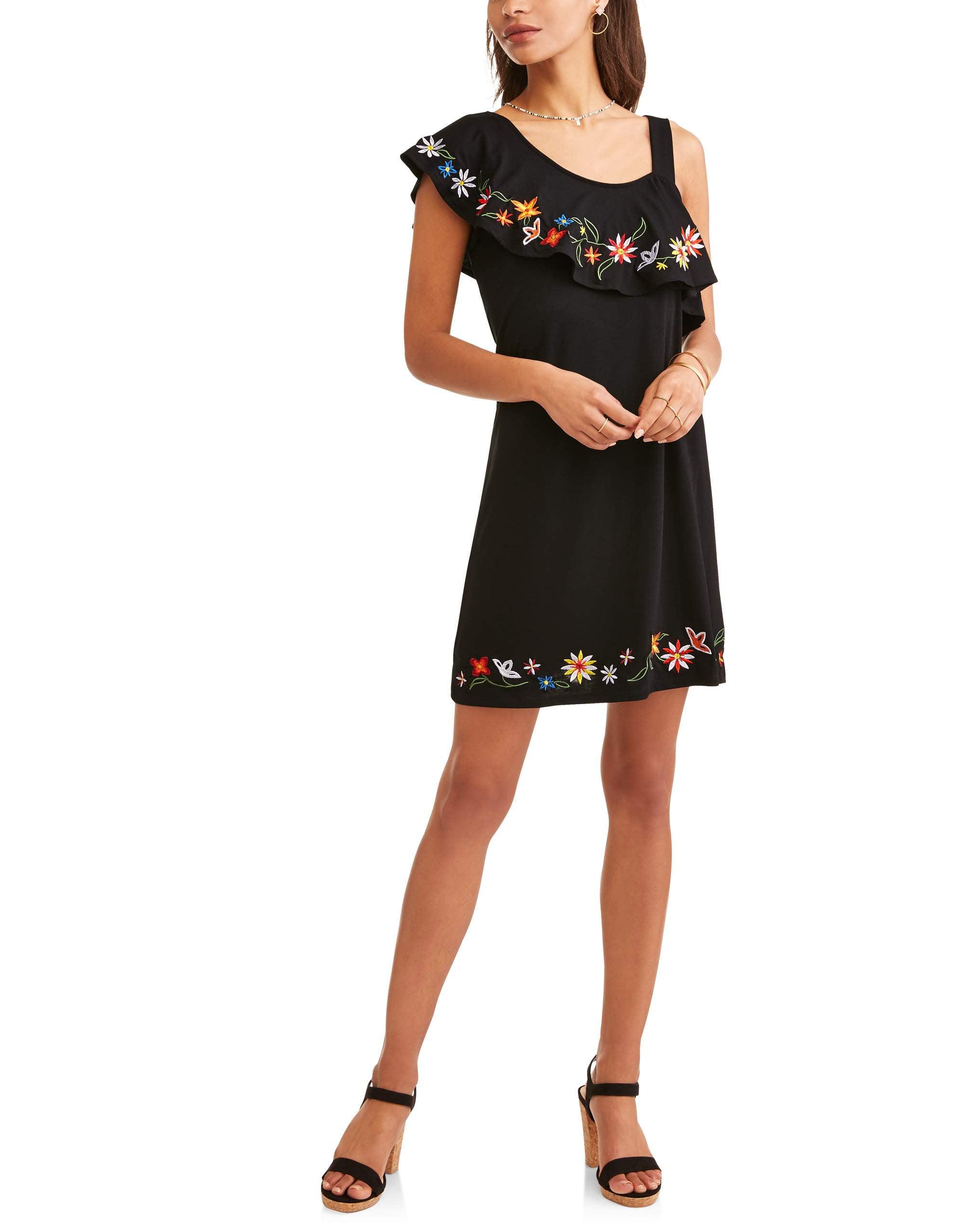 Allison Brittney Women's Embroidered Hem Tank Dress
