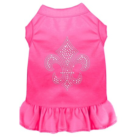Silver Fleur De Lis Rhinestone Dress Bright Pink Xs (8)