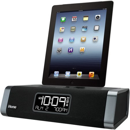 iHome Dual Charging FM Clock Radio with Lightning Dock and USB Charger for Apple iPad/iPhone/iPod, Black