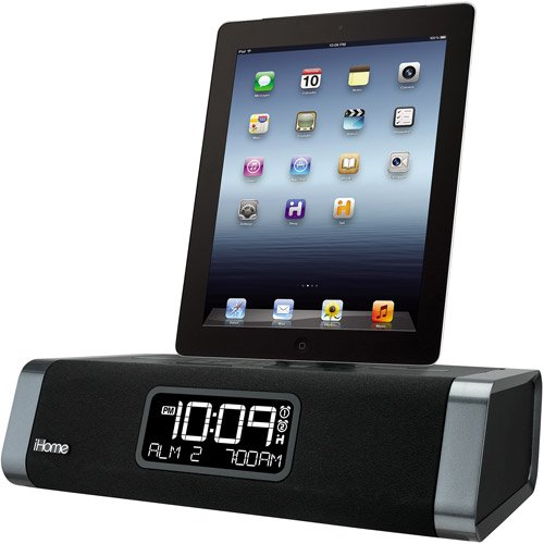 iHome Dual Charging FM Clock Radio with Lightning Dock and USB Charger for  Apple iPad/