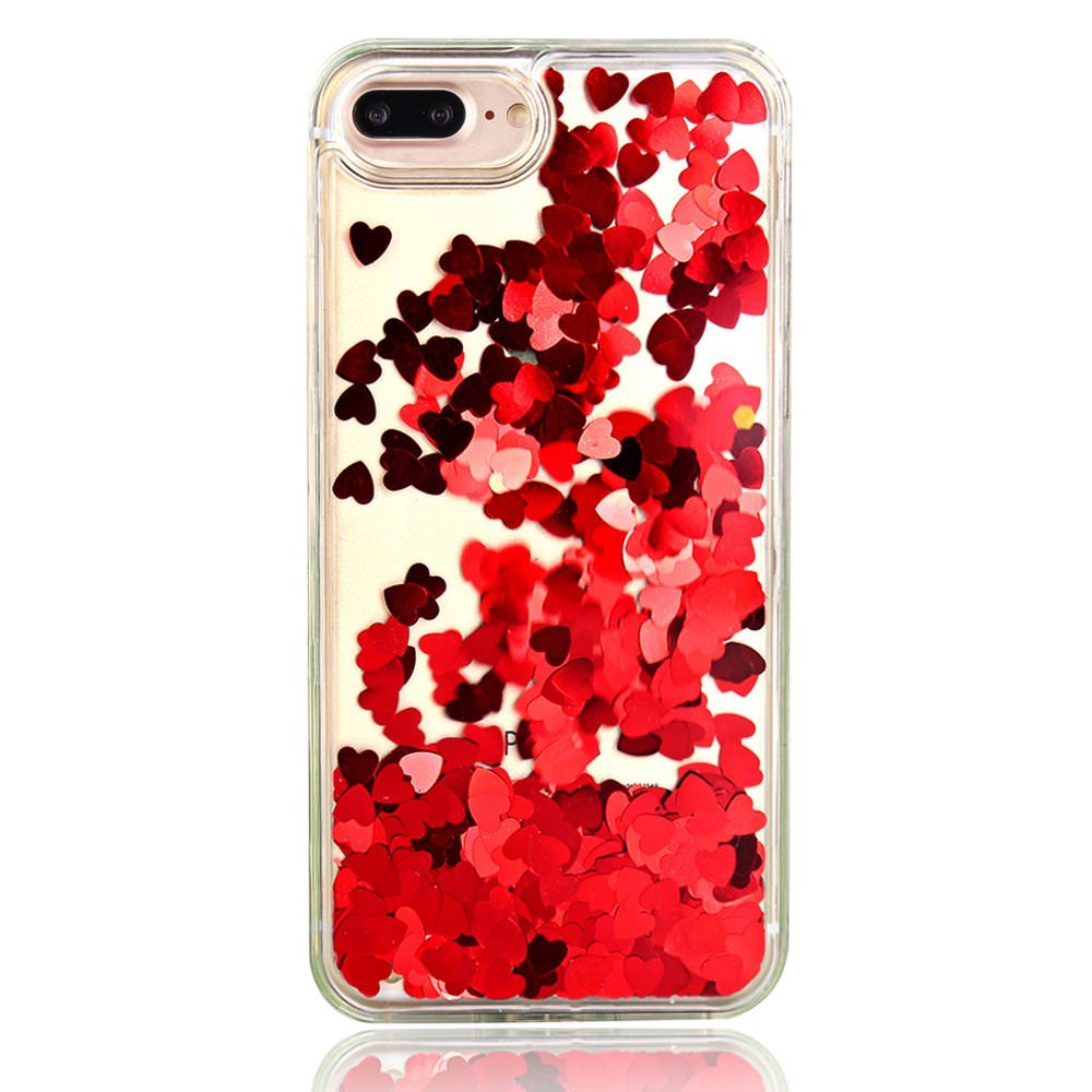 "For iPhone 8 Plus 5.5"" Floating Red Hearts Liquid Waterfall Bling Glitter Case"