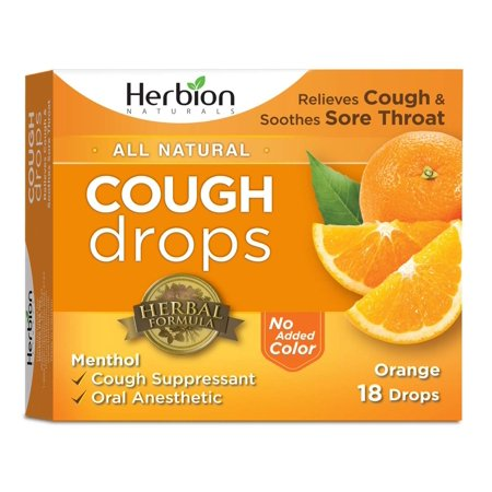 Herbion Naturals Cough Drops with Natural Orange Flavor, 18 Drops, Oral Anesthetic - Relieves Cough, Throat, Bronchial Irritation, Soothes Sore Mouth, For Adults and (Best Remedy For Mouth Sores)