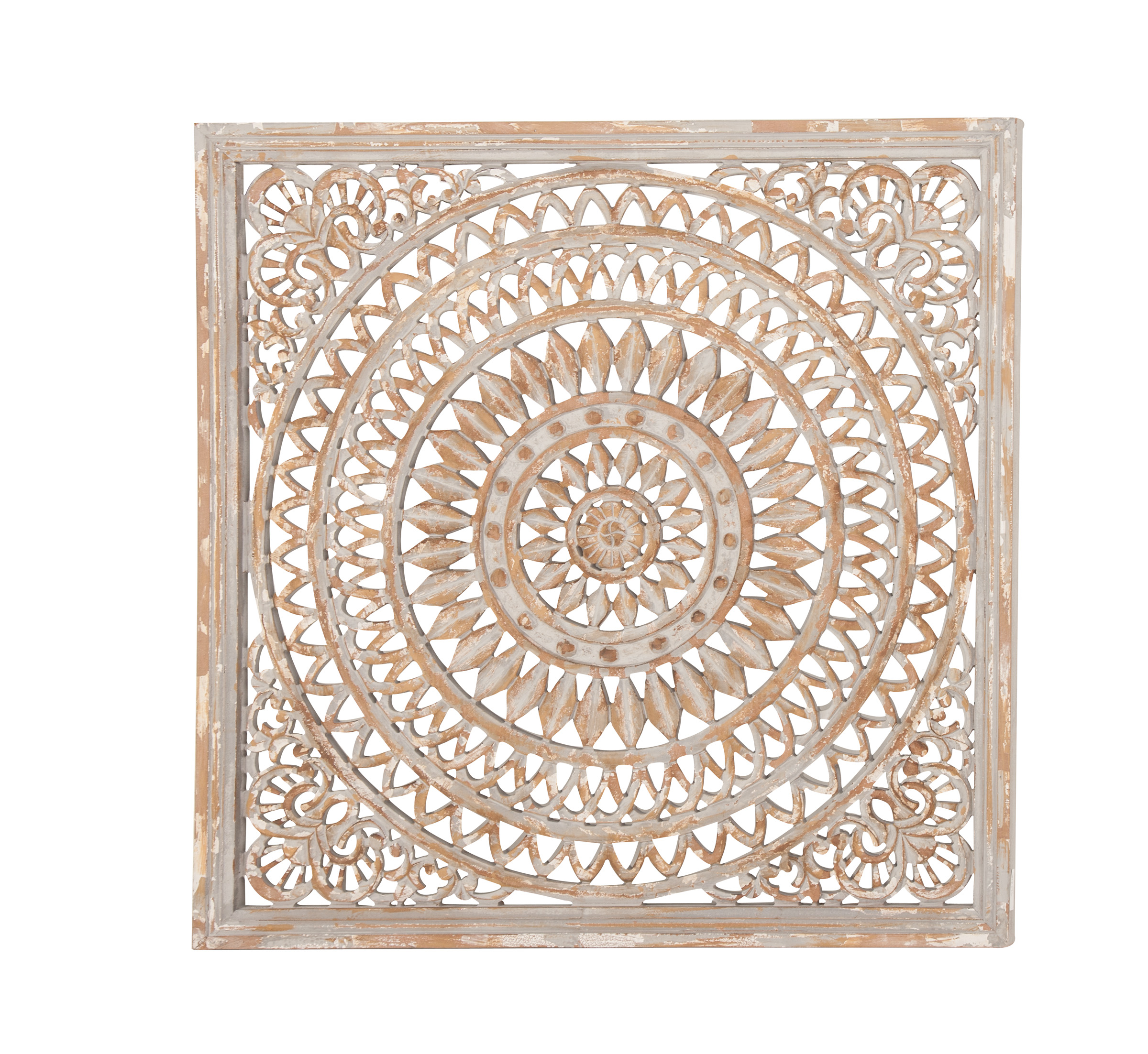 Decmode Rustic 36 X 36 Inch Square Wood Ornate Carved Framed Wall Decor