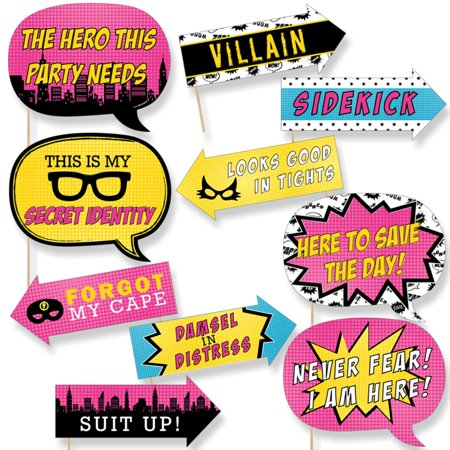 Funny BAM! Girl Superhero - Baby Shower or Birthday Party Photo Booth Props Kit - 10 - Superhero Baby Shower Theme