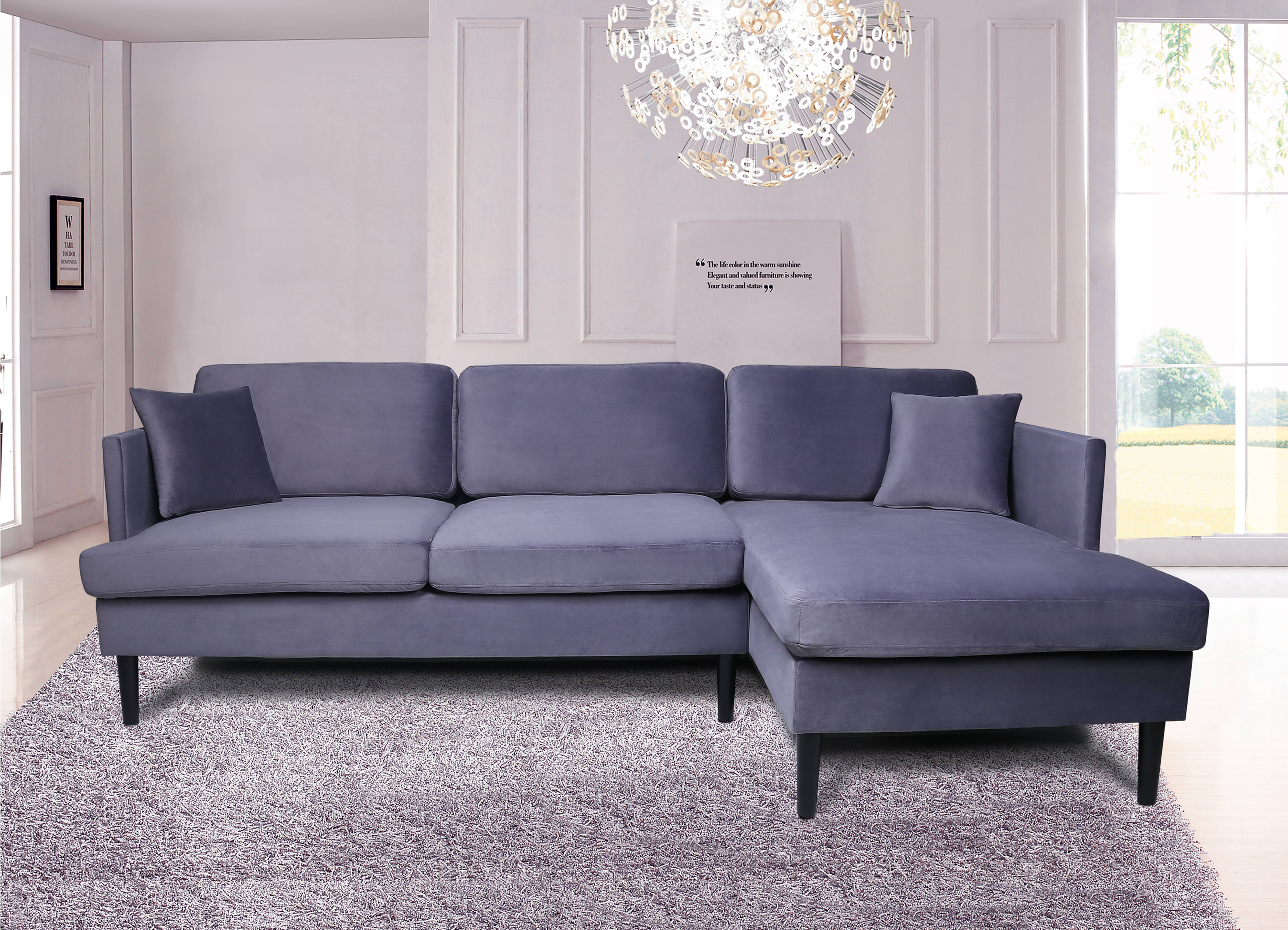 Segmart Mid Century Modern Sofa Bed With Chaise Lounge And Solid Frame 100 X54 3 X 35 4 Upholstery Sleeper Velvet Fabric Sectional Sofas With Solid Wood Frame 300lbs Grey S5809 Walmart Com