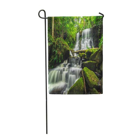 KDAGR Beautiful Waterfall in Green Forest Jungle at PHU Tub Berk Mountain Phetchabun Garden Flag Decorative Flag House Banner 12x18 inch