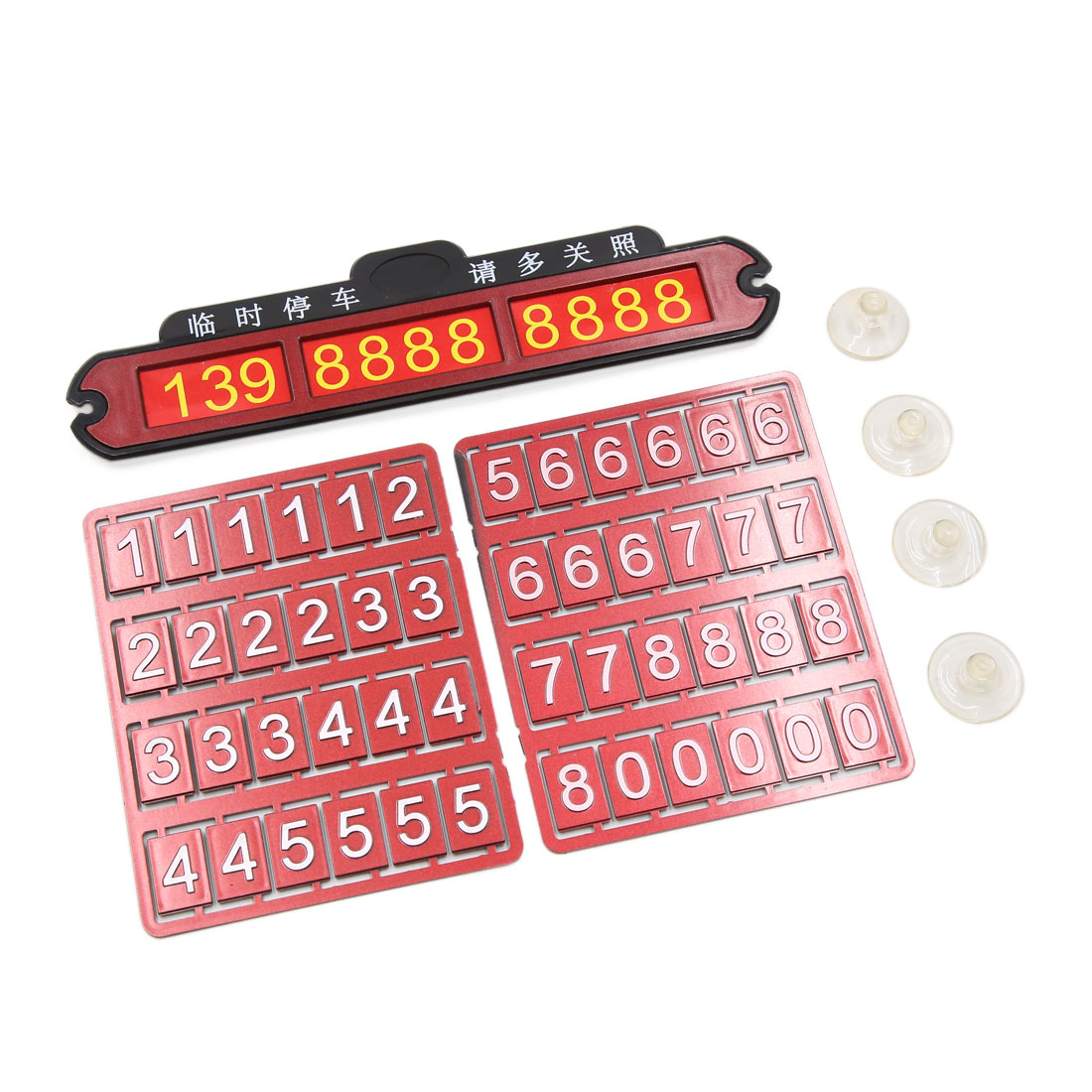 Red Plastic Car Vehicle Temporary Parking Windshield Phone Number Card Plate