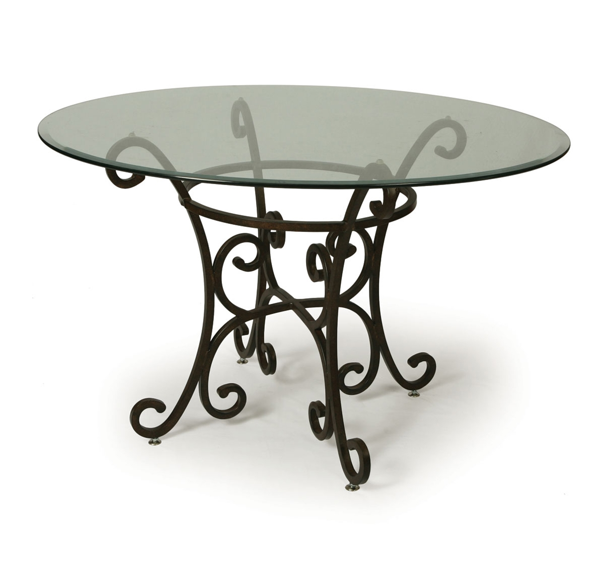 Pastel Magnolia 48 Inch Round Bevel Glass Dining Table in Autumn Rust