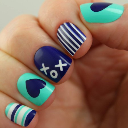Designer Ultra Short Square Shape Nails xox Design # PD6162, 24 Designer Nails! By Pretty (Simple Nail Designs For Short Nails For Beginners)