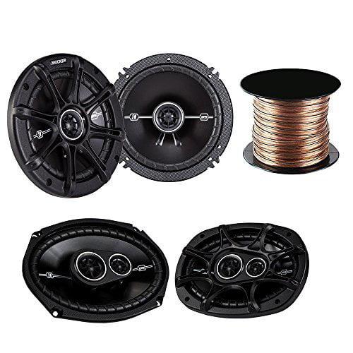 """Kicker 41DSC654 6-1/2"""" 2-way speakers + Kicker 41CS6934 6""""x9"""" 3-way car speakers + Car Speaker Wire"""
