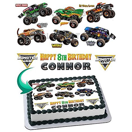 Monster Truck, Monster Jam, Grave Digger Edible Cake Topper Personalized Birthday 1/4 Sheet Decoration Party Birthday Sugar Frosting Transfer Fondant Image Edible Image for - Monster Truck Cakes