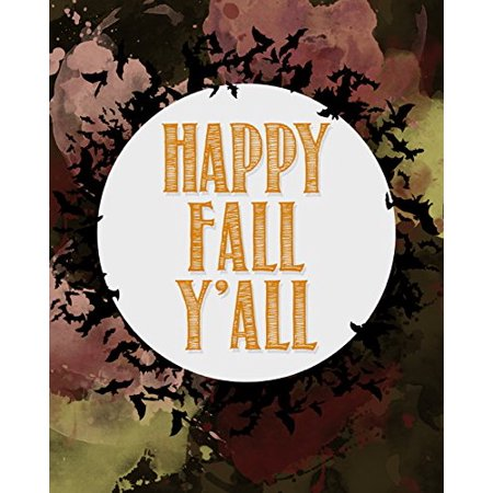 Happy Fall Y'All Print Bats Flying Picture Colorful Background Halloween Wall Decoration Seasonal Poster](Happy Halloween Background Music)