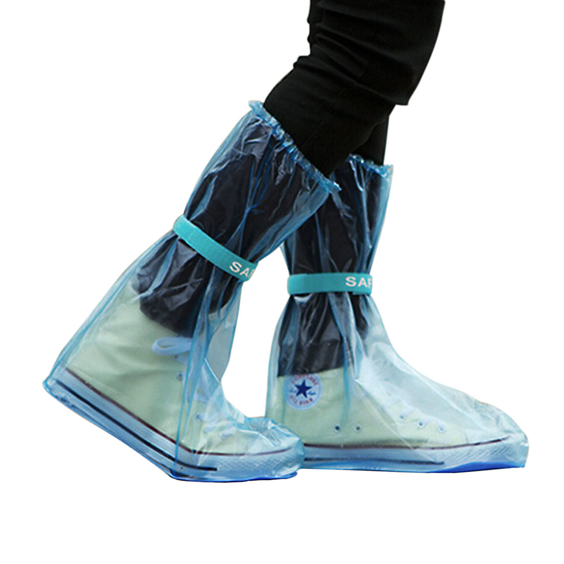 1 Pair Reusable Nonslip Rain Boots Shoes Cover Guard Overshoes Blue Size L by Unique-Bargains
