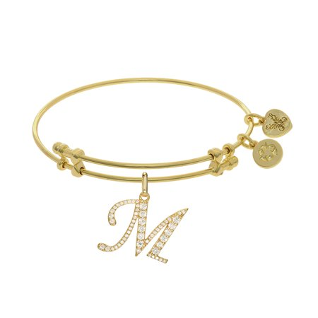 Angelica Yellow Tone Br Letter M Adjule Bangle Bracelet 7 25 Inches