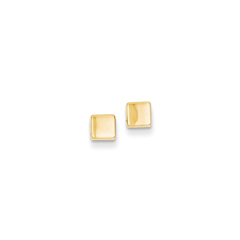 14k Yellow Gold Polished Square Post Stud Earrings. (4MM)
