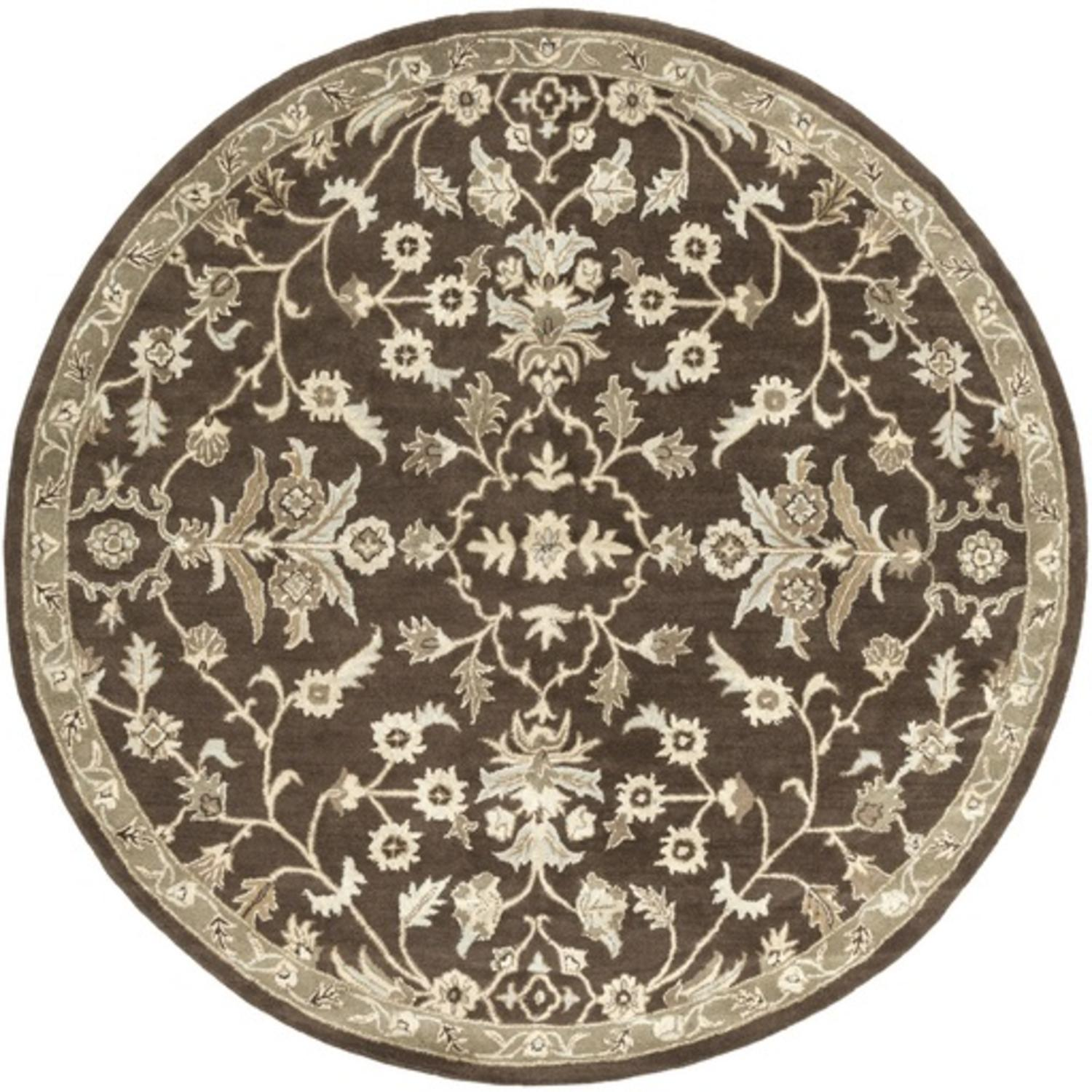 8' French Elegance Chocolate Brown, Gray and Cream Round Hand Tufted Wool Area Throw Rug