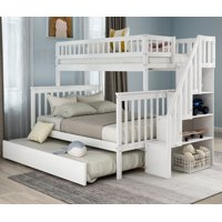 EUROCO Twin Over Full Bunk Bed with Trundle and Stairs for Kids, White